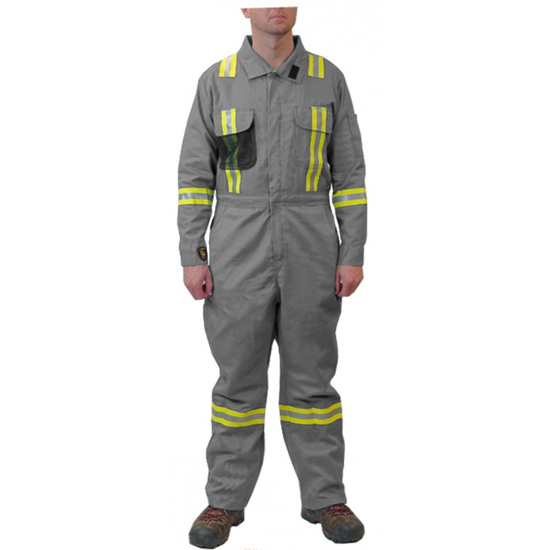 <strong>Summit Breeze®</strong> FR Vented  Coverall, 7 oz. 100% FR Cotton With Triple Trim Reflective