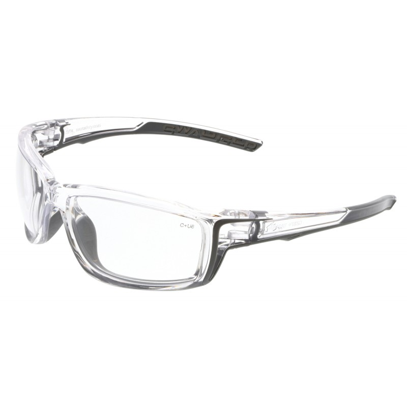 <strong>MCR Safety</strong> Swagger® SR4 Clear MAX6™ Lens with Clear Frame Clear Temples with Gray TPR