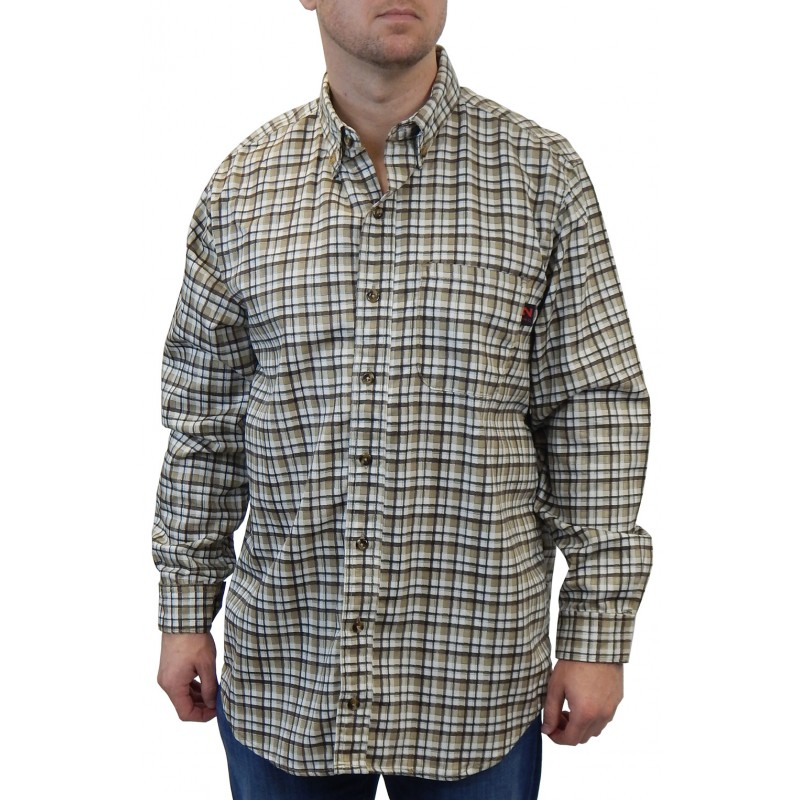 <strong>Summit FR</strong> Woven Button Front Brown White Plaid Shirt